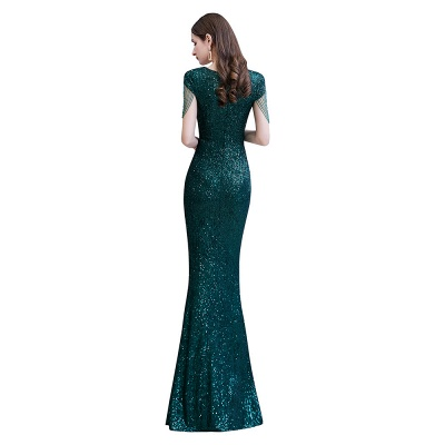 Elegant Cap Sleeve Green Prom Dress | Sequins Long Evening Gowns_11