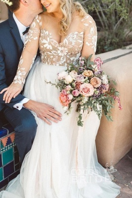 Tulle Long Sleeves Sweetheart Appliques Wedding Dresses_5