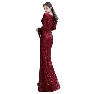Gorgeous Sequins Long Sleeve Prom Dress | V-Neck Mermaid Evening Gowns_27