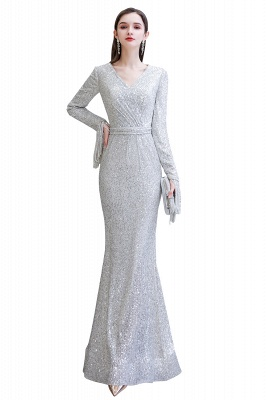Gorgeous Sequins Long Sleeve Prom Dress | V-Neck Mermaid Evening Gowns_2