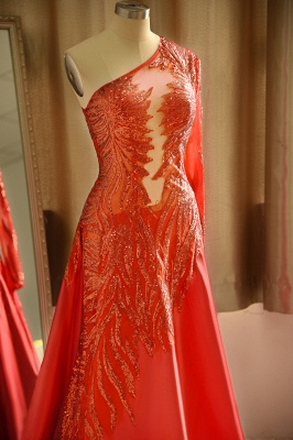 Chic One-Shoulder Red Sequined Prom Dress | One-Sleeve Sexy Party Dress_6