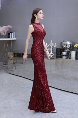 Gorgeous Burgundy Sequins Long Mermaid Prom Dress_13