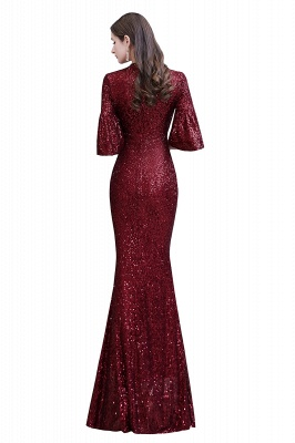 Burgundy Short Sleeve Sequins Prom Dress | Long Party Gowns_14