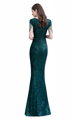 Elegant Cap Sleeve Green Prom Dress | Sequins Long Evening Gowns_14