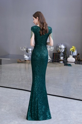 Elegant Cap Sleeve Green Prom Dress | Sequins Long Evening Gowns_7