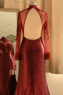 Sexy High-Neck Burgundy Sequined Slit Prom Dress | Long Sleeves Appliques Backless Formal Dress with Sheer Top_6