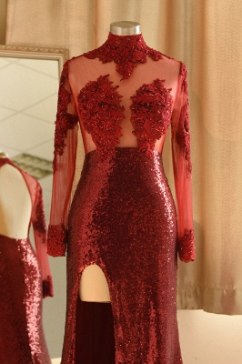 Sexy High-Neck Burgundy Sequined Slit Prom Dress | Long Sleeves Appliques Backless Formal Dress with Sheer Top_5