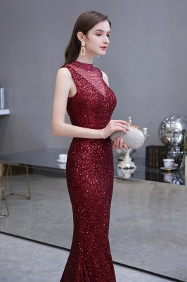 Gorgeous Burgundy Sequins Long Mermaid Prom Dress_9