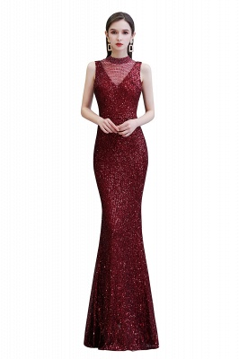 Gorgeous Burgundy Sequins Long Mermaid Prom Dress_1
