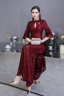 Burgundy Short Sleeve Sequins Prom Dress | Long Party Gowns_6