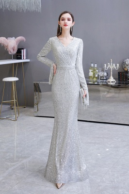 Gorgeous Sequins Long Sleeve Prom Dress | V-Neck Mermaid Evening Gowns_9