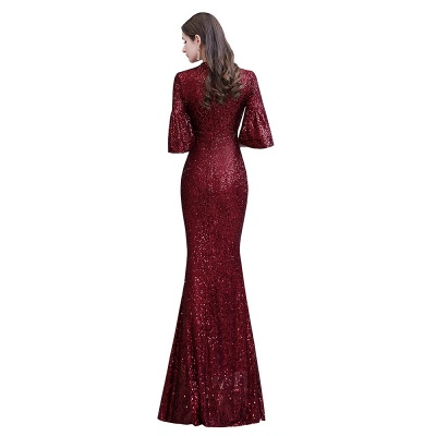 Burgundy Short Sleeve Sequins Prom Dress | Long Party Gowns_12