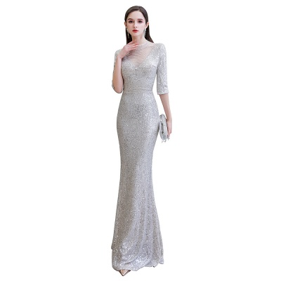 Silver Half Sleeve Sequins Prom Dress | Mermaid Long Evening Gowns_1