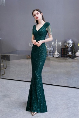 Elegant Cap Sleeve Green Prom Dress | Sequins Long Evening Gowns_9