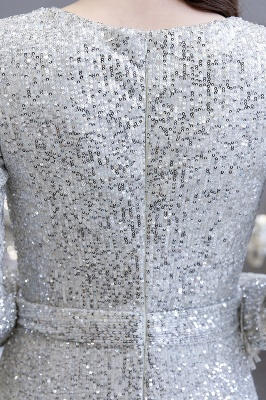 Gorgeous Sequins Long Sleeve Prom Dress | V-Neck Mermaid Evening Gowns_15