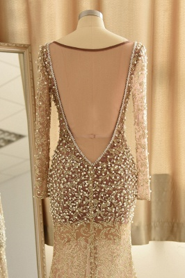 Glamorous Jewel Lace Front Slit Prom Dress   Long Sleeves Appliques Formal Dress with Pearls_7