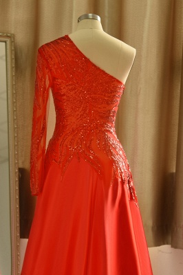 Chic One-Shoulder Red Sequined Prom Dress | One-Sleeve Sexy Party Dress_7