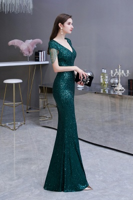 Elegant Cap Sleeve Green Prom Dress | Sequins Long Evening Gowns_4