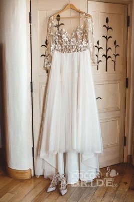 Tulle Long Sleeves Sweetheart Appliques Wedding Dresses_3