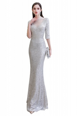 Silver Half Sleeve Sequins Prom Dress | Mermaid Long Evening Gowns_15