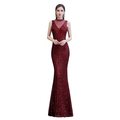 Gorgeous Burgundy Sequins Long Mermaid Prom Dress_8