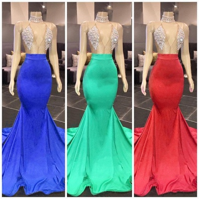 Sexy Yellow Halter Backless Prom Dress Long Mermaid With Crystals_2