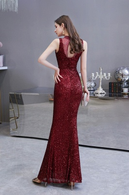 Gorgeous Burgundy Sequins Long Mermaid Prom Dress_5