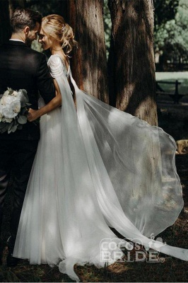 Gorgeous Off The Shoulder Tulle Beading A-Line Wedding Dresses_5