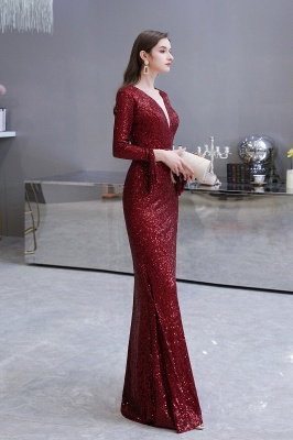 Gorgeous Sequins Long Sleeve Prom Dress | V-Neck Mermaid Evening Gowns_29