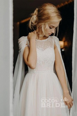 Gorgeous Off The Shoulder Tulle Beading A-Line Wedding Dresses_2