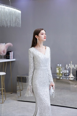 Gorgeous Sequins Long Sleeve Prom Dress | V-Neck Mermaid Evening Gowns_11