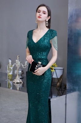 Elegant Cap Sleeve Green Prom Dress | Sequins Long Evening Gowns_6