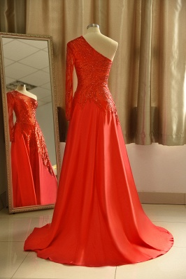 Chic One-Shoulder Red Sequined Prom Dress | One-Sleeve Sexy Party Dress_3