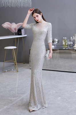 Silver Half Sleeve Sequins Prom Dress | Mermaid Long Evening Gowns_4