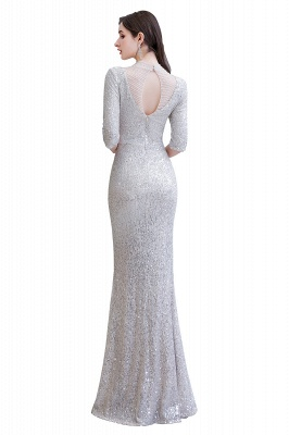 Silver Half Sleeve Sequins Prom Dress | Mermaid Long Evening Gowns_13