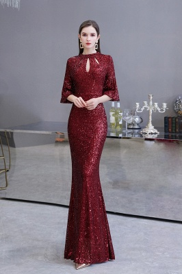 Burgundy Short Sleeve Sequins Prom Dress | Long Party Gowns_2