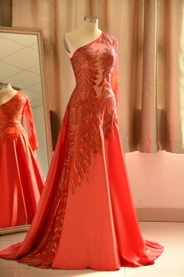 Chic One-Shoulder Red Sequined Prom Dress | One-Sleeve Sexy Party Dress_4