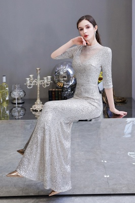 Silver Half Sleeve Sequins Prom Dress | Mermaid Long Evening Gowns_16