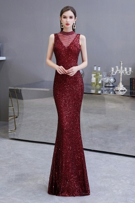 Gorgeous Burgundy Sequins Long Mermaid Prom Dress_2