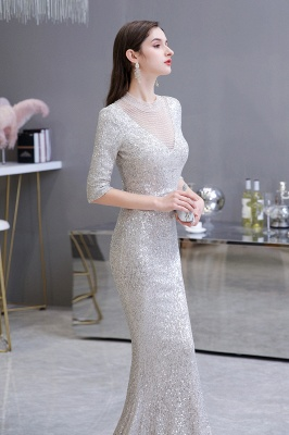 Silver Half Sleeve Sequins Prom Dress | Mermaid Long Evening Gowns_6