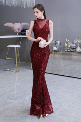 Gorgeous Burgundy Sequins Long Mermaid Prom Dress_6