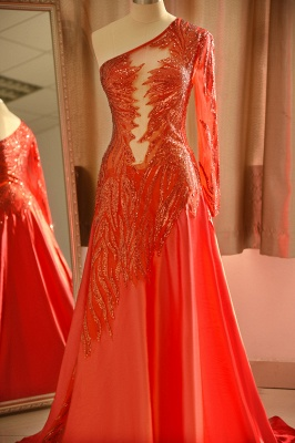Chic One-Shoulder Red Sequined Prom Dress | One-Sleeve Sexy Party Dress_5