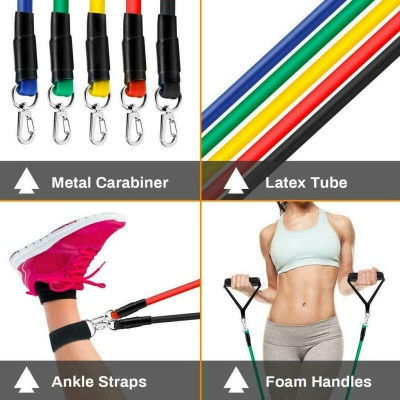 11 Pcs Per Set 100 lbf Combination Pull Rope Gym Fitness Resistance Bands Muscle Building Sport Equipments Yoga Elastic Band_6
