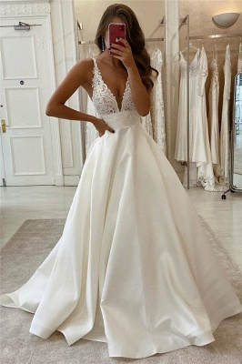 V-neck Spaghetti Straps Lace Bridal Gowns | A-line Sleeveless Elegant Wedding Dresses_1