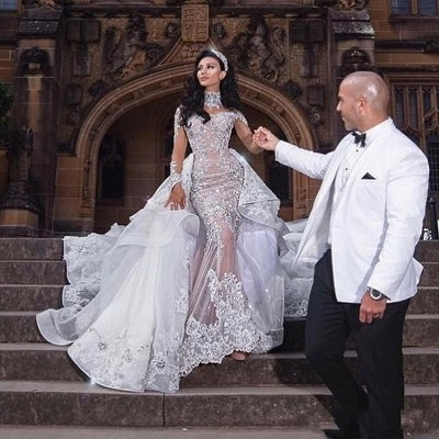 Glamorous Long Sleeves Tulle High Neck 2020 Bride Dresses Appliques Wedding Dresses with Detachable Overskirt qq0375_8