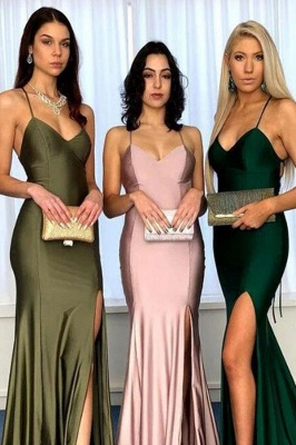 Spaghetti-strap Sheath Side-slit Sexy Bridesmaid Dresses_2