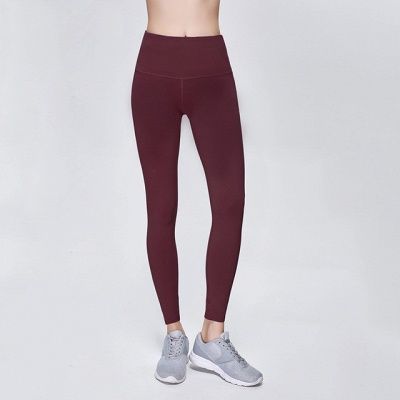 Solid Color High Waist Sports Gym Wear Leggings | Elastic Fitness Lady Overall Full Tights Workout Yoga Pants_8
