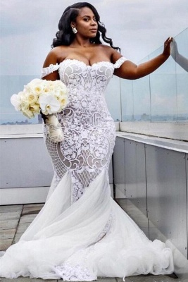 Off The Shoulder Plus Size Wedding Dresses | Mermaid Sexy Lace Appliques Bridal Gowns