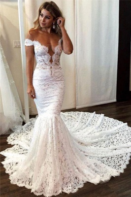 Elegant Mermaid Off Shoulder Wedding Dress Sleeveless Lace Bridal Gowns with Court Train_1