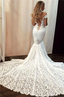 Elegant Mermaid Off Shoulder Wedding Dress Sleeveless Lace Bridal Gowns with Court Train_2